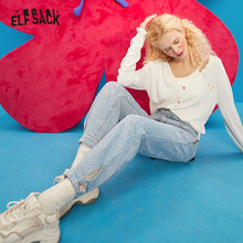 ELFSACK Blue Solid High Waist Washed Straight Casual Jeans Women,2021 Winter Pure Minimalist Korean Ladies Basic Daily Trousers