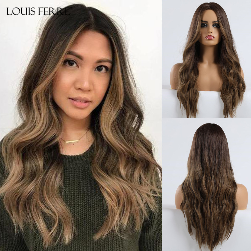 LOUIS FERRE Long Ombre Black Brown Hightlight Wavy Wigs Synthetic Wave Wigs For Black Women Middle Part Wigs Heat Resistant