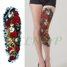 Waterproof Temporary Tattoo Sticker red rose clock skull girl faces tatoo full arm large fake tatto flash tattoos for men women(China)