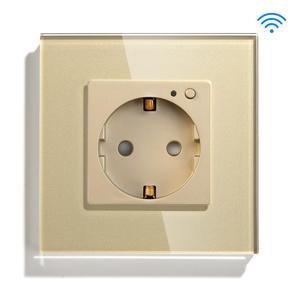 Image 3 - BSEED Wifi розетка стандарта ЕС умная розетка WIFI розетка белого, черного и золотого цвета 86*86 мм умный Wifi переключатель мониторинга