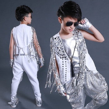 Jazz Costumes Boys Silver Fringed Rhinestone Vest Jacket Stage Outfit Hip Hop Street Dance Clothes Performance Wear DNV11853