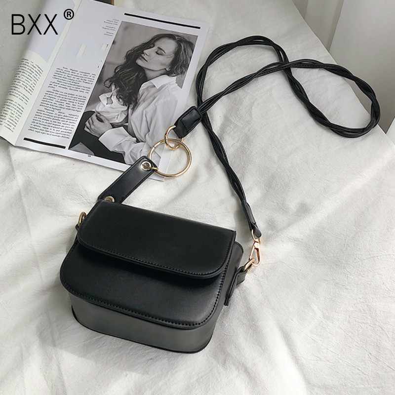 [BXX] Solid Color PU Leather Crossbody Bags For Women 2020 Lock Shoulder Messenger Bag Travel Small Handbags And Purse HK538