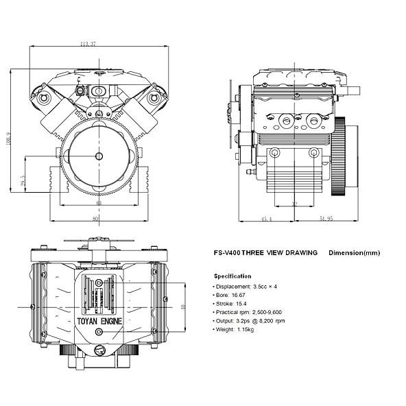 Motor de metanol de cuatro tiempos FS-V400 regalo de cumpleaños para motor V4 Tuoyan - 6