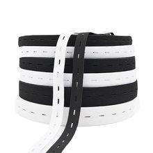 5 metre 15/20/25MM düz elastik bant düğme delikleri elastik bant DIY konfeksiyon dikiş aksesuarları beyaz/siyah tel dokuma
