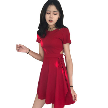 Summer Women's Clothes Round Neck Short Sleeves Solid Color Cutout Slim-fit Ruffled Dress Woman Dress purple geometrical pattern round neck long sleeves christmas dress