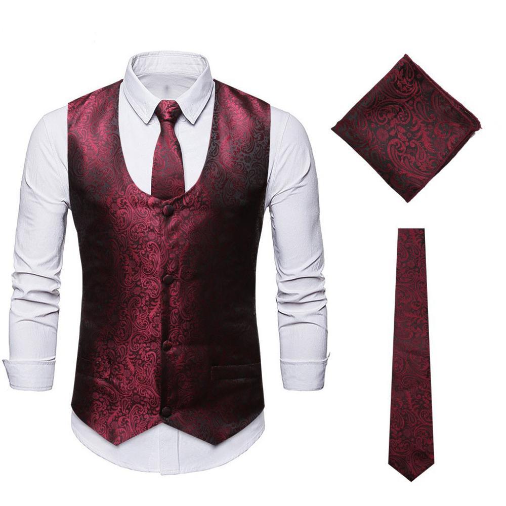 Mens Classic Wine Red Paisley Jacquard  Floral Waistcost Vest Handkerchief Party Wedding Tuxedo Tie Vest Suit Pocket Square Set