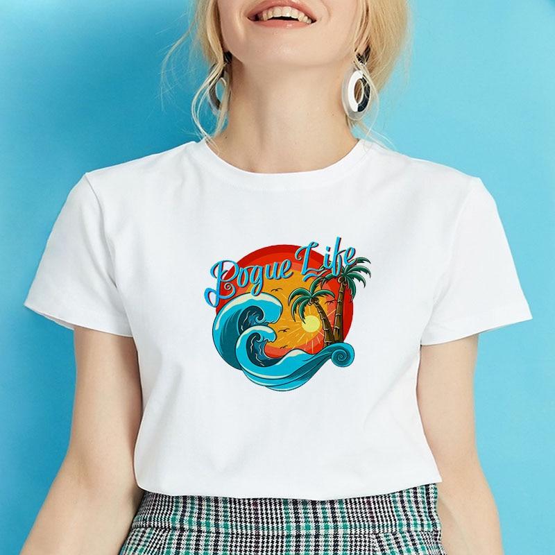 Female T-shirt OBX Text Women T Shirt Banks TV Series Tops Harajuku Aesthetics Women T-shirts Short Sleeve Sunset Photo Shirts