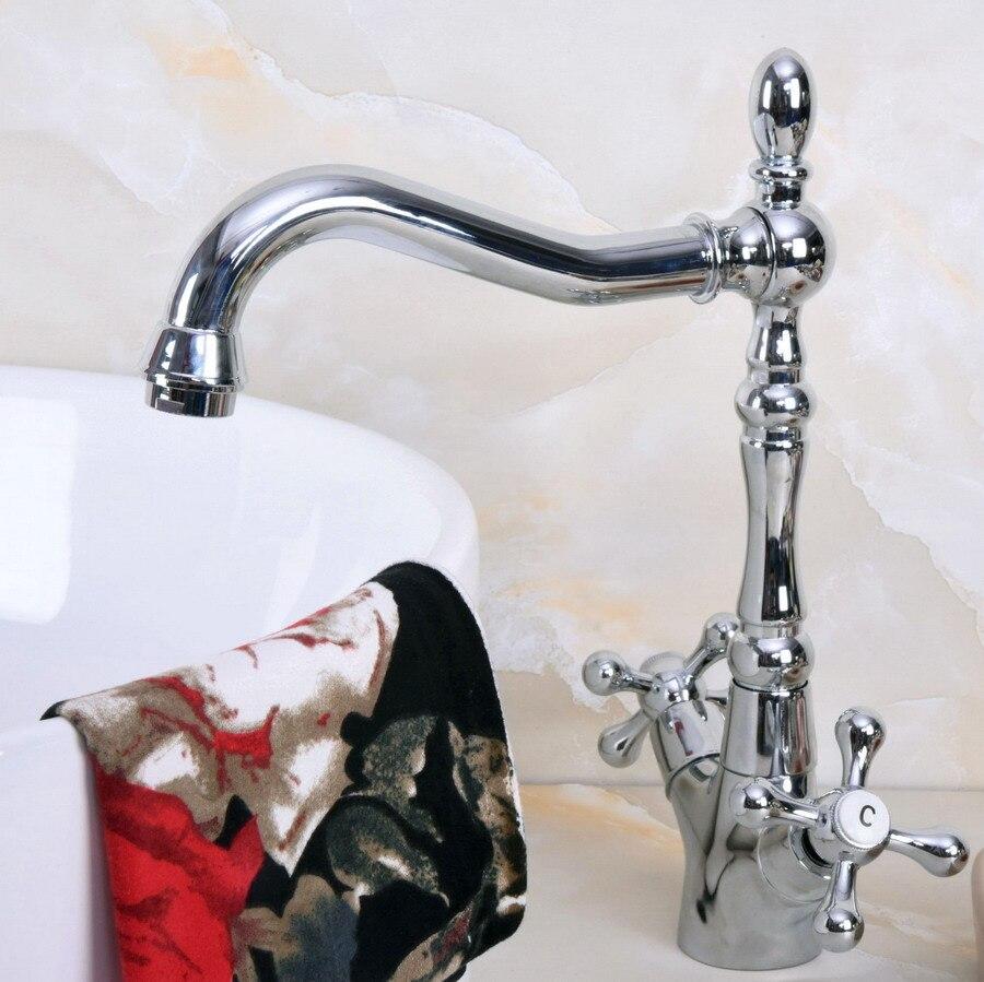 Latão polido Chrome Duas Alças Cruzadas Um Buraco Bacia Banheiro Kitchen Sink Faucet Bica Giratória Torneira Misturadora mnf917