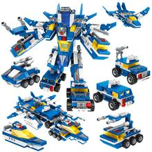 6set military police teams spelled into the building blocks robot  puzzle assembled DIY model toys