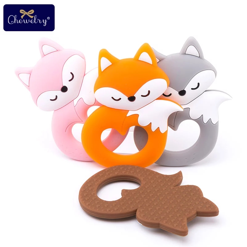10pc Baby Silicone Teether Rodent Silicone Fox Pendant Baby Teether Rodent BPA Free Silicone Beads Chew Biter Children Goods Toy
