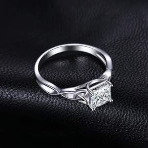 Image 2 - JPalace Celtic Knot Princess CZ Engagement Ring 925 Sterling Silver Rings for Women Anniversary Wedding Rings Silver 925 Jewelry