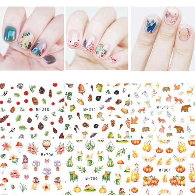 Fall Theme Nail Art Water Decals Colorful Marple Leaf Beauty Patterns Nail DIY Beauty Design Decoration Transfer Stickers Paper