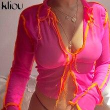 Kliou mesh sexy frauen neon rosa v-ausschnitt langarm crop top patchwork t shirts mode streetwear party club tragen outfits