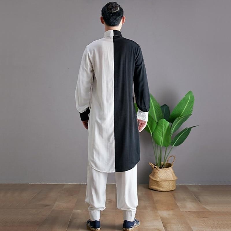 Linen Shirts Men Tracksuit Pants Sets Two Piece Kong Fu Suit Mens Streetwear Fashion Sweat Pant 2019 Men'S Sets KK3174 - 5