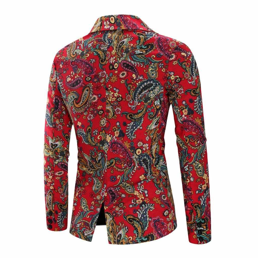 Jaycosin Vintage Etnische Blazer Dunne Jas Mannen Gedrukt Bloemen Pak Slim Fit Mannen Merk Kleding 2019 Herfst Winter Blazzer 9801