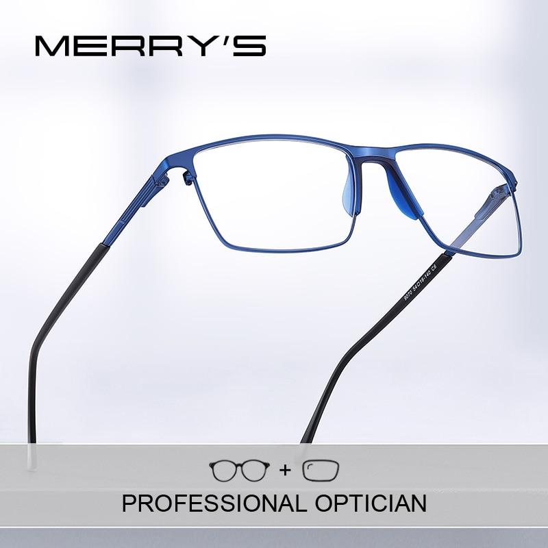 MERRYS-lunettes de Prescription en titane pour hommes, montures complètes, verres optiques carrées pour myopie, Style Business, S2170PG