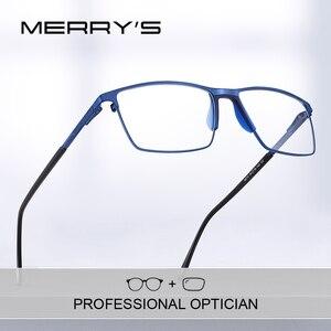 Image 1 - MERRYS lunettes de Prescription en titane pour hommes, montures complètes, verres optiques carrées pour myopie, Style Business, S2170PG