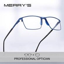 Merrys design óculos de grau para miopia, óculos masculino de titânio, quadrado, armação completa, óculos de grau s2170pg