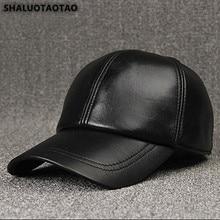 SHALUOTAOTAO trend Autumn Winter fashion sheepskin Baseball cap adjustable size Genuine Leather hat men's Leisure Snapback caps цена
