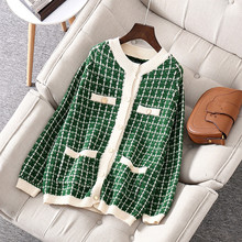 Womens High quality loose plaid knit coat Brand new 2019 autumn womens cardigans A899
