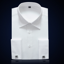 French Cuff Mens Formal Business Dress Shirt Solid Male Party Wedding Tuxedo Shirts with Cufflinks