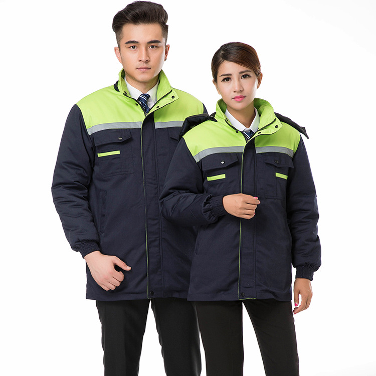 Winter Thick Men And Women Labor Safety Cotton-padded Clothes Three Open Splittable Auto Repair Engineering Labor Suit Workwear