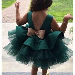 Bebê menina vestidos menina vestido de baile tutu princesa vestido de lantejoulas arco vestido de menina do bebê 1st aniversário vestido de festa de casamento
