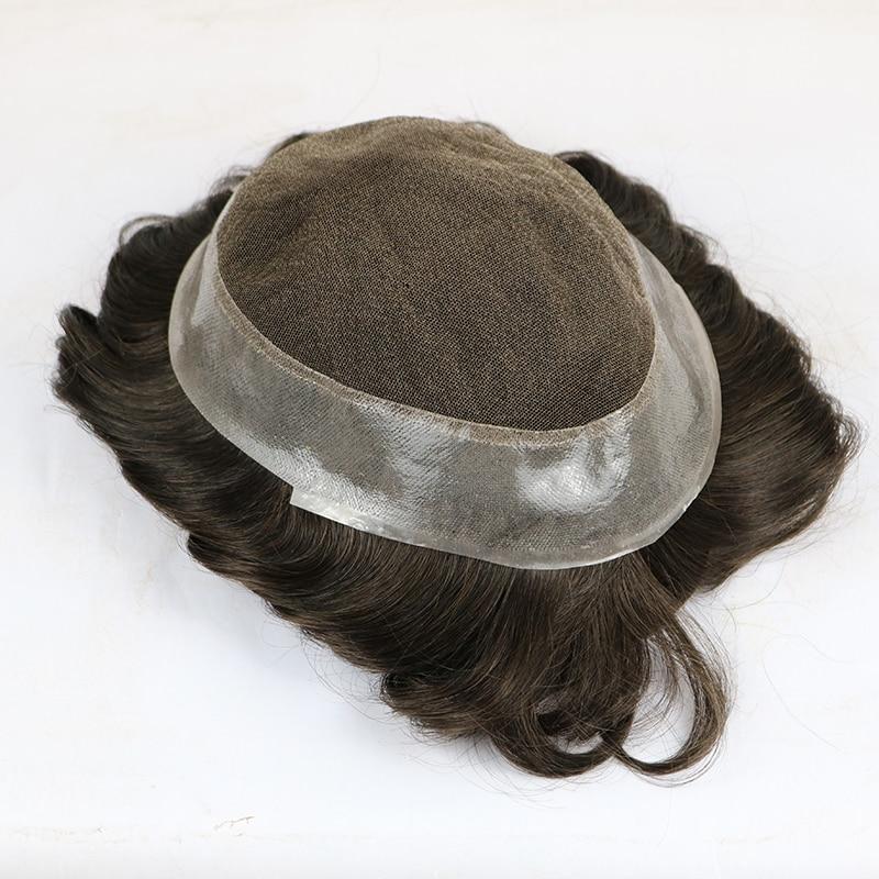 Base Australiana (encaje suizo con silicona de PU alrededor) en Stock peluca para hombre, sistema de reemplazo de cabello humano, pelucas de prótesis