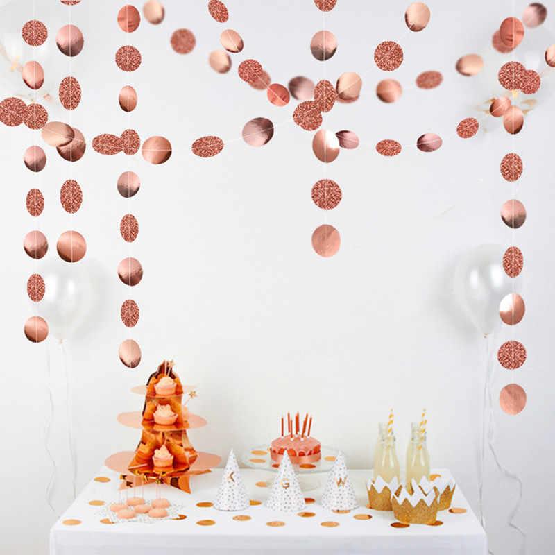 Dekoracje ślubne 4M złoto srebro gwiazda okrągły kształt girlandy papierowe Baby Shower dekoracje na imprezę urodzinową Kid materiały na boże narodzenie