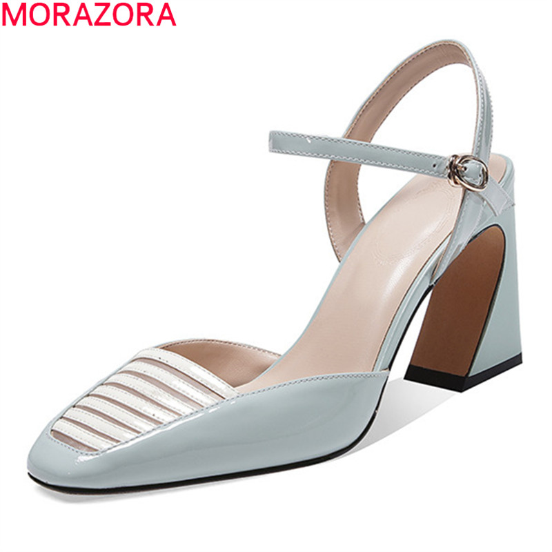 MORAZORA New Arrival Summer Women Pumps Genuine Leather Buckle Sweet Ladies Shoes Thick High Heels Square Toe Party Shoes