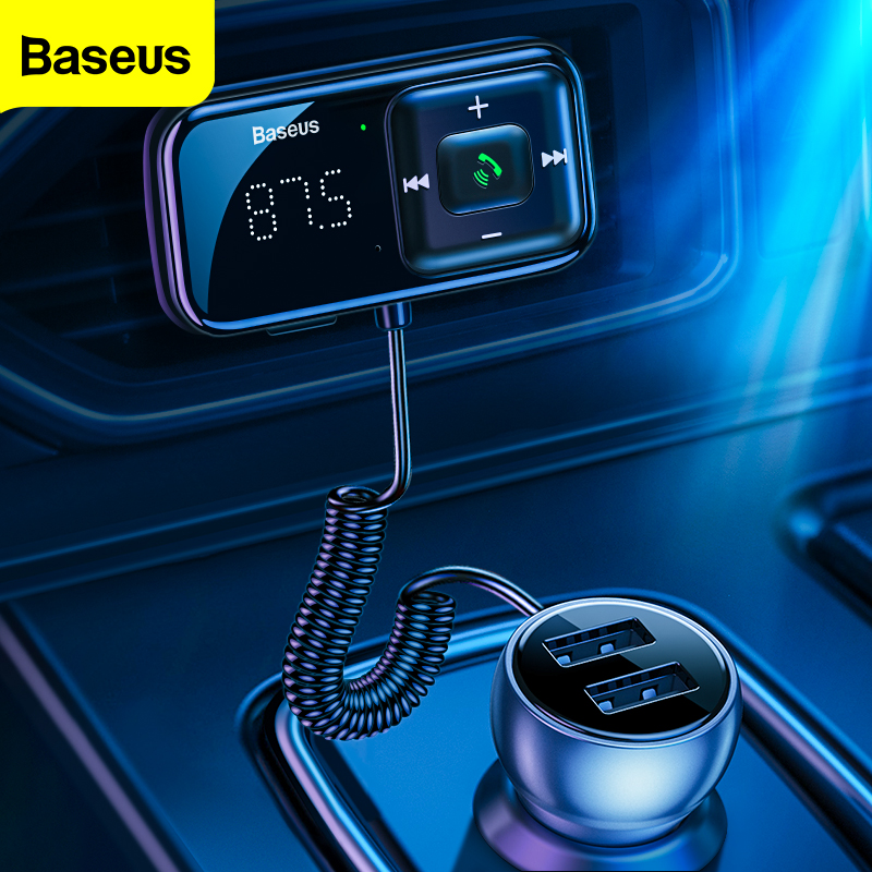 Transmisor modulador FM Baseus Bluetooth 5,0 FM Radio 3.1A USB cargador de coche kit de manos libres para coche inalámbrico Aux Audio FM Transmisor