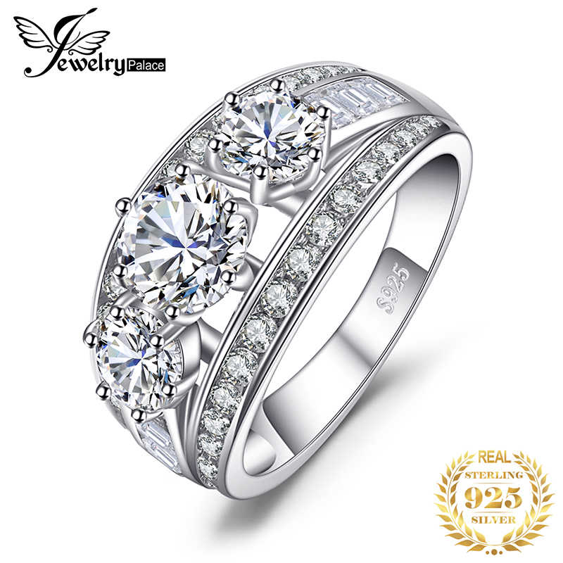 JewelryPalace 3 Stones CZ Engagement Ring 925 Sterling Silver Rings for Women Anniversary Ring Wedding Rings Silver 925 Jewelry