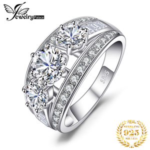 Image 1 - Bijoux palace 3 pierres CZ bague de fiançailles 925 en argent Sterling anneaux pour les femmes anniversaire anneau de mariage anneaux argent 925 bijoux