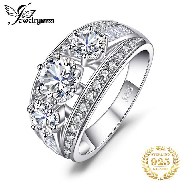 Bijoux palace 3 pierres CZ bague de fiançailles 925 en argent Sterling anneaux pour les femmes anniversaire anneau de mariage anneaux argent 925 bijoux