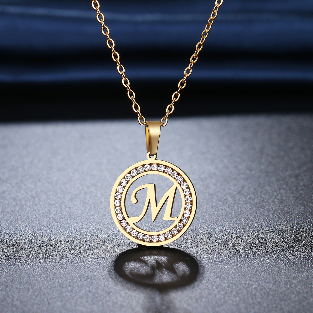 CACANA 316L Stainless Steel 26 letters A Z Necklace NEW Crystal Rhinestone Necklaces For Women Wedding Valentine's Day Gifts
