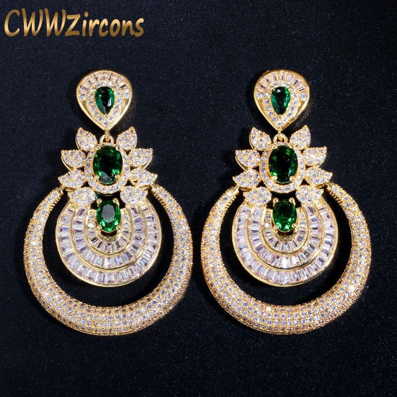CWWZircons Dubai 18k Yellow Gold Vintage Costume Jewelry Green Emerald Long Big Drop Wedding Party Earrings For Women CZ457