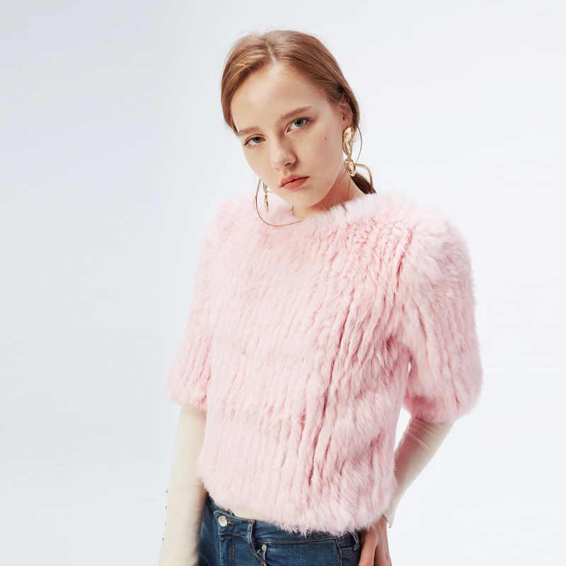 ETHEL ANDERSON Frauen Gestrickte Echt Kaninchen Pelz Jacke Mantel Mode Pullover Outwear Taille Länge Pullover Schönheit Neue Ankunft