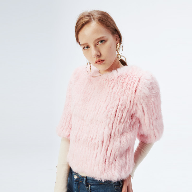 ETHEL ANDERSON Womens Knitted Real Rabbit Fur Jacket Coat Fashion Pullover Outwear Waist Length Sweater Beauty New Arriving