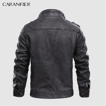 CARANFIER Mens Leather Jackets Stand Collar Zipper  2
