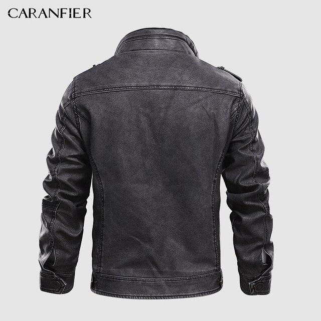CARANFIER Mens Leather Jackets Stand Collar Zipper  2