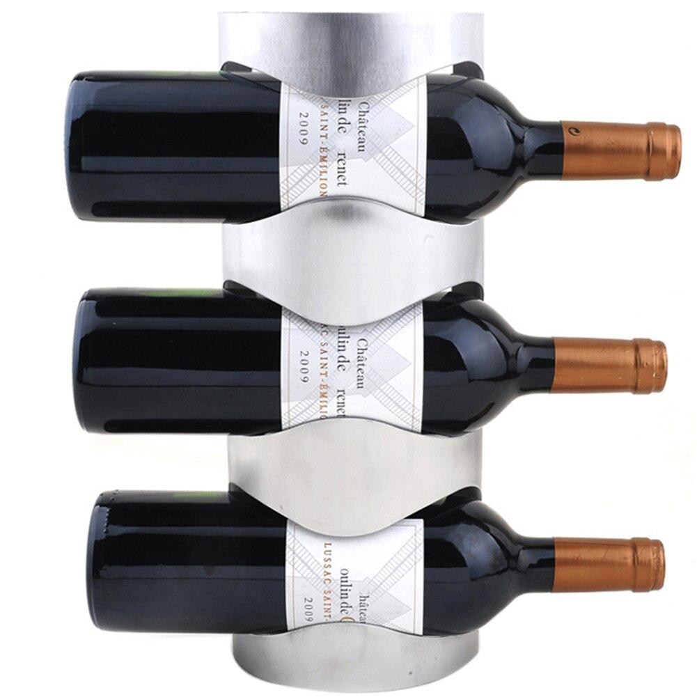 Настенный держатель для винной бутылки из нержавеющей стали держатель для хранения витрина, домашний декор MYDING - Цвет: 3 Bottle