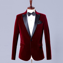 Velvet Blazer Suit Jacket Prom-Coat Lapel Wedding Burgundy Black Fashion Single for Men