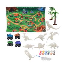 DIY kolorowanie 3D malowanie zwierzę Model dinozaura rysunek Graffiti zestaw zabawek dla dzieci dzieci nietoksyczne farby sztuki dla dzieci dziewcząt chłopców tanie tanio CN (pochodzenie) Z tworzywa sztucznego Dinosaur Painting Kit Unisex Rysunek zabawki zestaw 3 lat