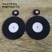 Vintage Black Vinyl Record Acrylic Earrings