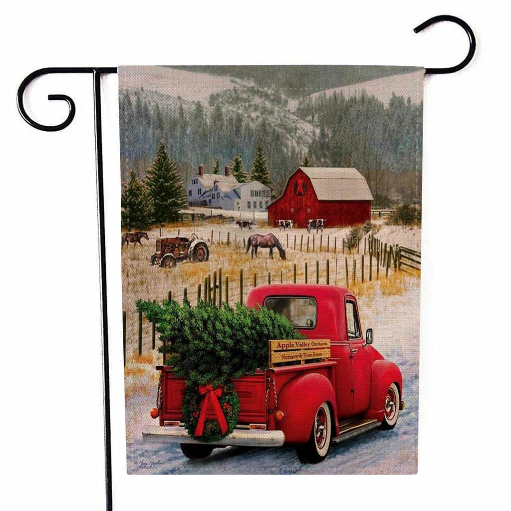 2019 Новый рождественский Садовый флаг с двухсторонним изображением наружных газонов Декор флаг рождественские украшения для дома