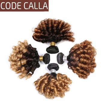 Ombre Peruvian Bouncy Curly Hair Weave Bundles Code Calla 8-26inch T1B/4/27 Human Extensions 1/3/4 Deal T1B/4/30 - discount item  49% OFF Beauty Supply