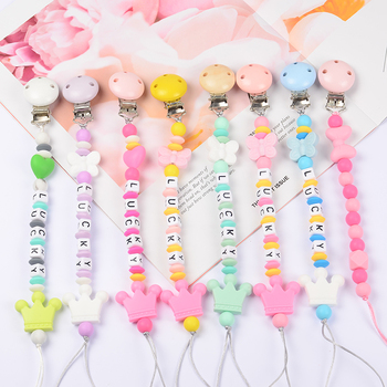 Food Grade Safe Silicone Baby Pacifier Chain/Clip Cute Crown Pacifier Clips Nipple Holder for Baby Personalized Name Pacifier personalized name baby teether silicone pacifier clips holder infant teething toys baby shower gift food grade silicone