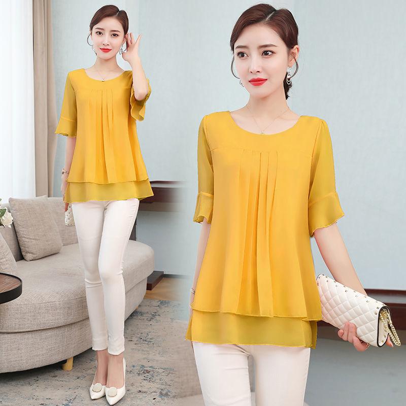 2021 Summer obesity Mid-length Chiffon Blouse Plus Size 5XL Women Short sleeve Beautiful Self-cultivati Shirt blouse Show thin 5