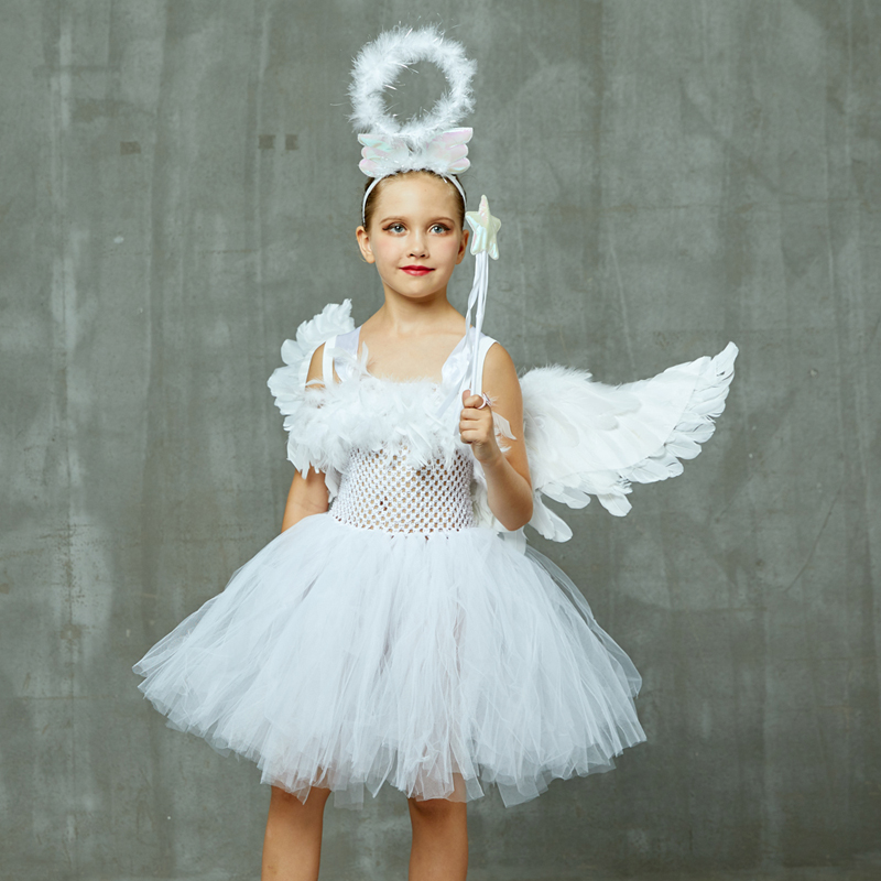 Guardian Angel Kids Halloween Costume White Feather Angel Girls Tutu Dress with Wings & Halo Christmas Nativity Gabriel Clothes (14)
