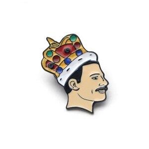 Корона человека Фредди Меркурий Эмаль Булавка королева отворот булавка музыка Любовник подарок джинсовый значок